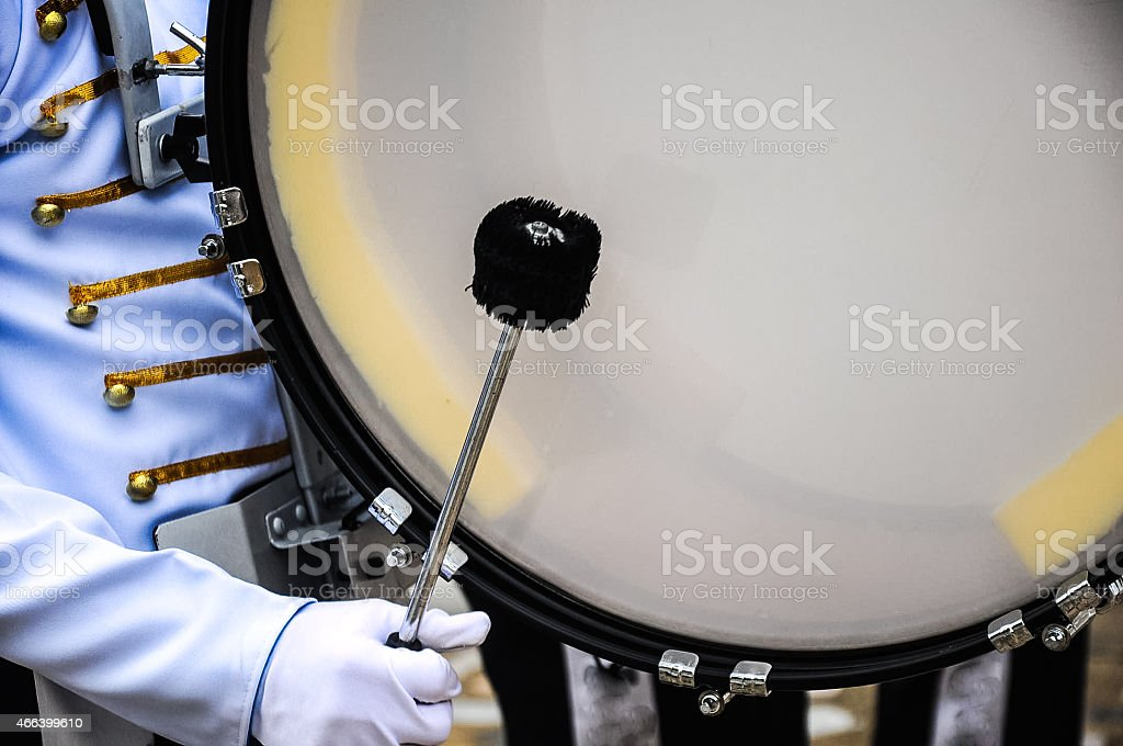 Drummer Playing A Bass Drum in Parade stock photo