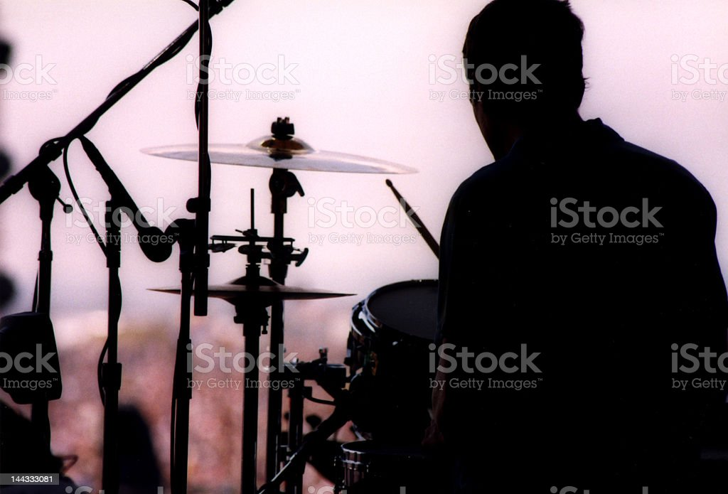 Drummer Silhouette from Backstage at Woodstock stock photo