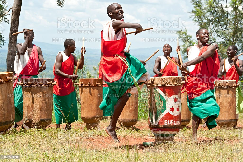 Drummers and Dancers of Gitega in Burundi, Africa stock photo