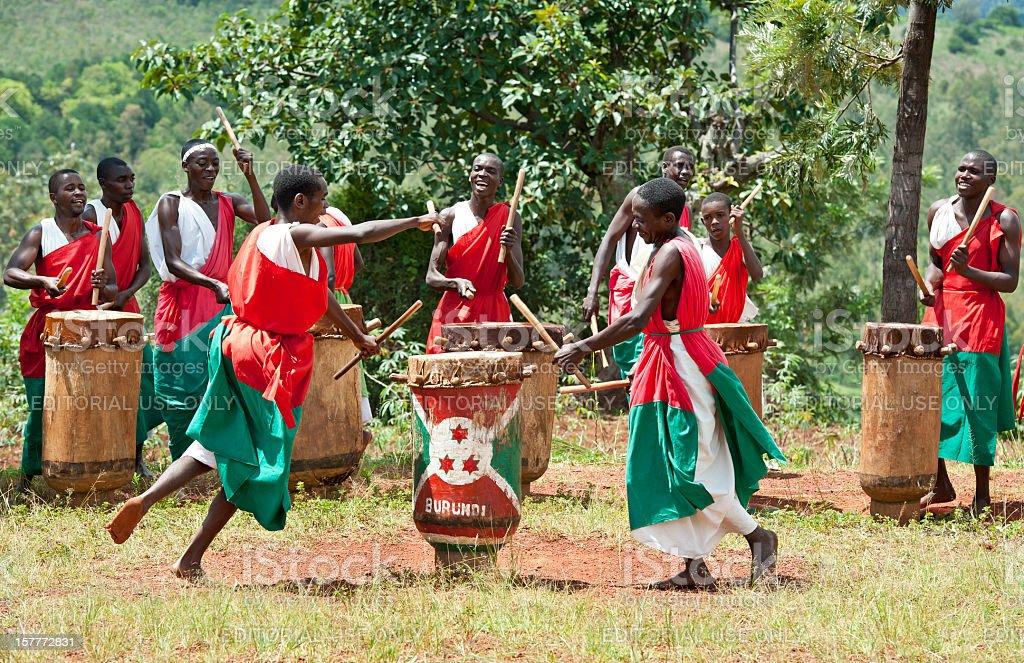 Drummers and Dancers of Gitega in Burundi, Africa royalty-free stock photo