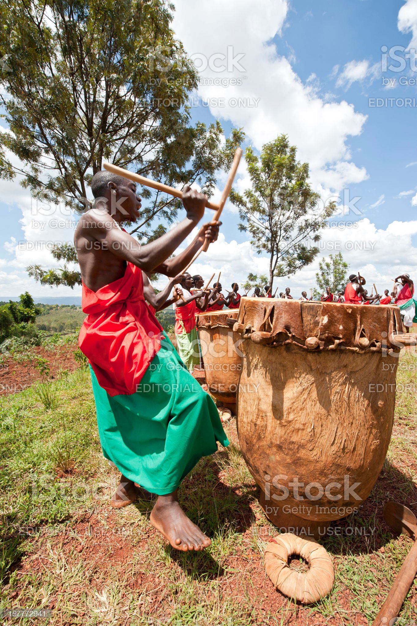 Drummers and Dancers of Gitega in Burundi, Africa royalty-free stock photo