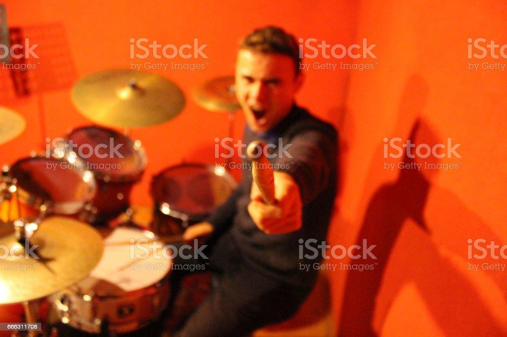 Drummer's Emotion stock photo