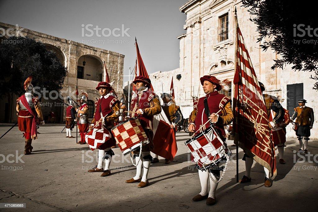 Drummers Fort Saint Elmo Knights Malta royalty-free stock photo