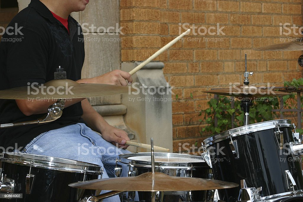 drummer's hands and sticks royalty-free stock photo