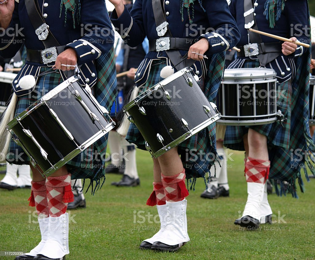 Drummers in a Pipe Band, Scotland stock photo