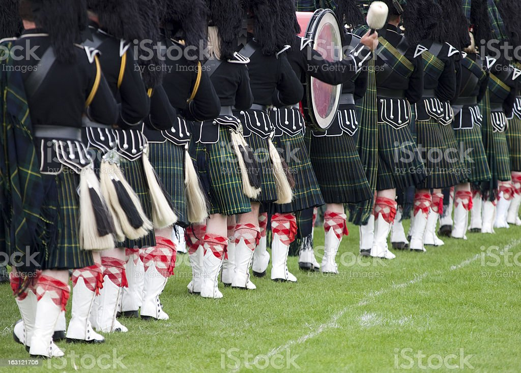 Drummers in a Scottish Marching Band stock photo