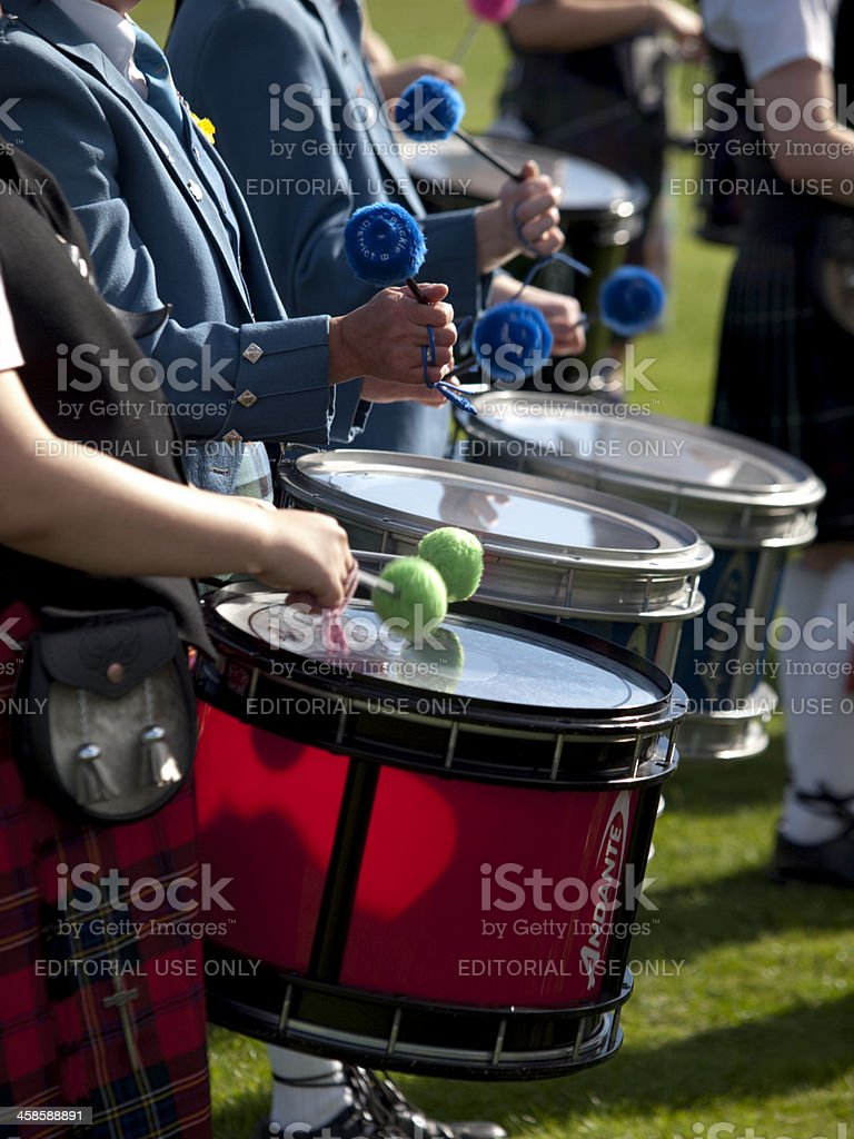 Drummers in a Scottish Pipe Band stock photo