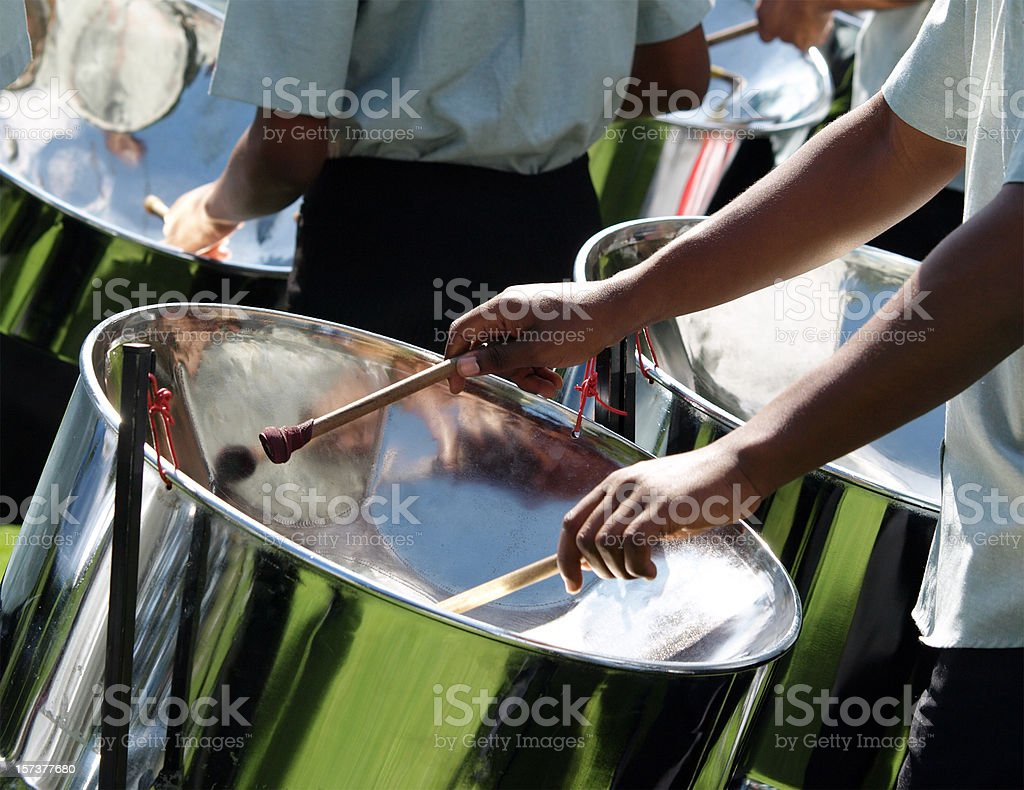 Drummers in a Steel Band stock photo