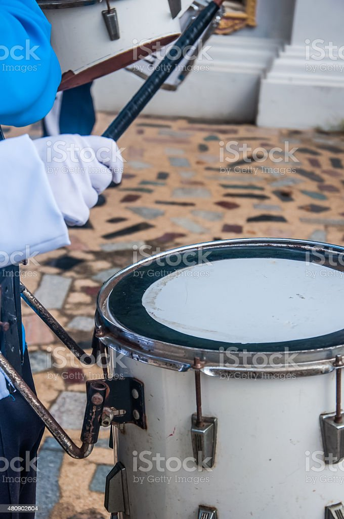Drummers in the band stock photo