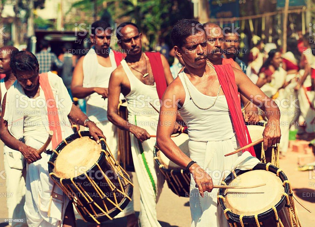 Drummers on religious ceremony. stock photo