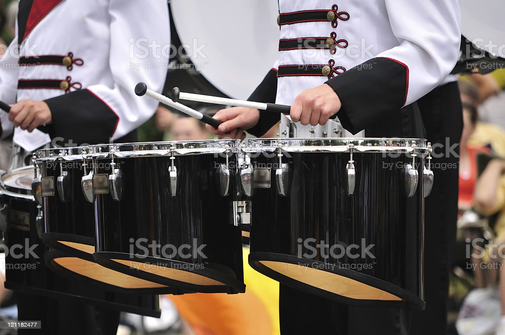 Drummers Playing Tenor Drums in Parade stock photo