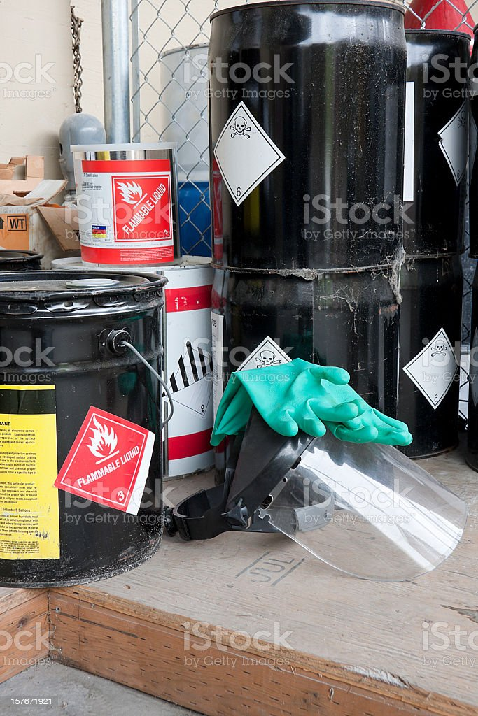 Drums and containers of poisonous and flammable substances stock photo