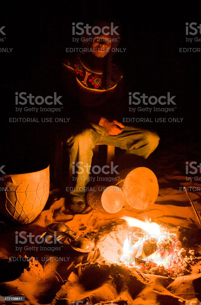 Drums and fire stock photo