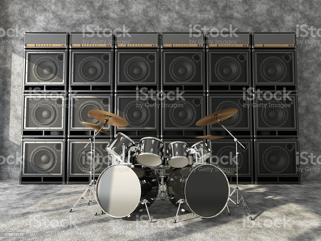 Drums and guitar amps stock photo
