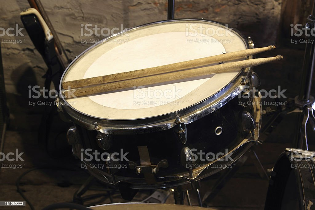 Drums conceptual image. Snare drum and stick royalty-free stock photo