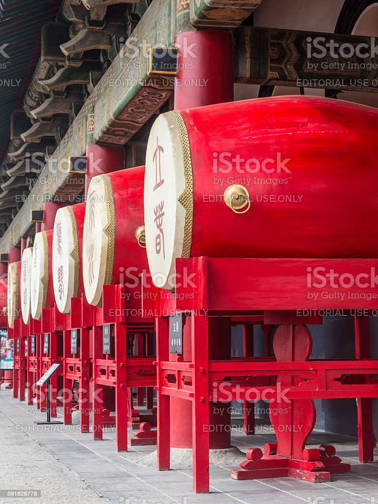 Drums in the Bell Tower in Xian stock photo