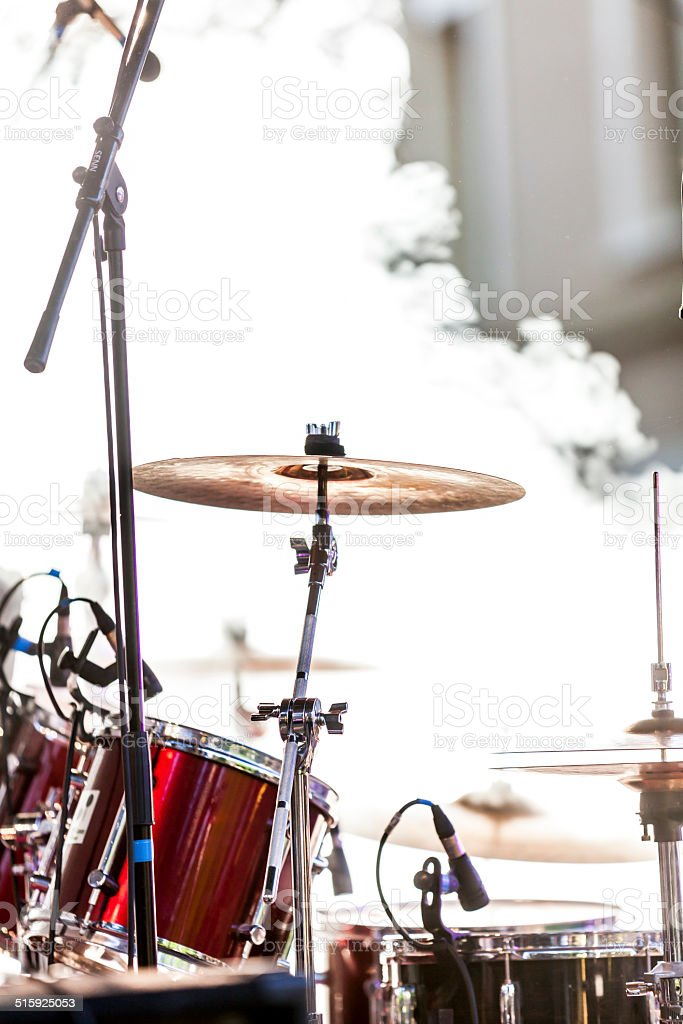 Drums in the smoke stock photo