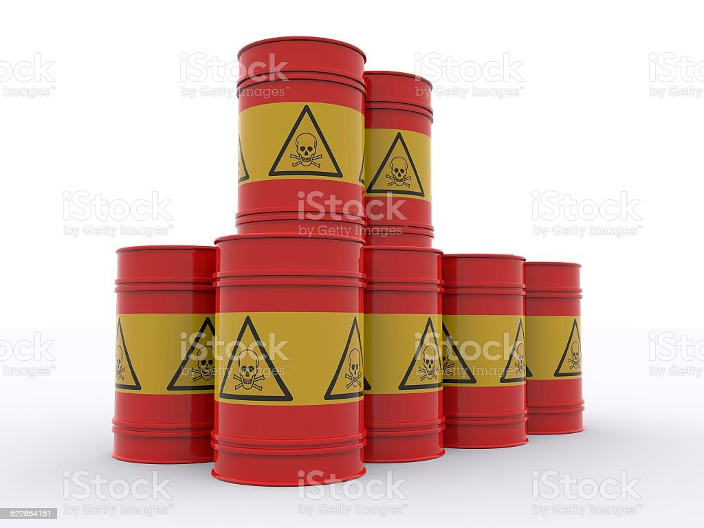 drums loaded with poison stock photo