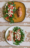 Drumstick and wing of turkey and salad