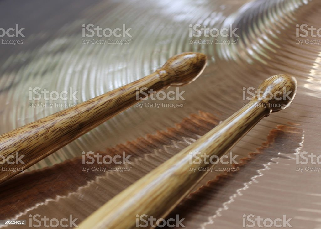 Drumsticks and Cymbal stock photo