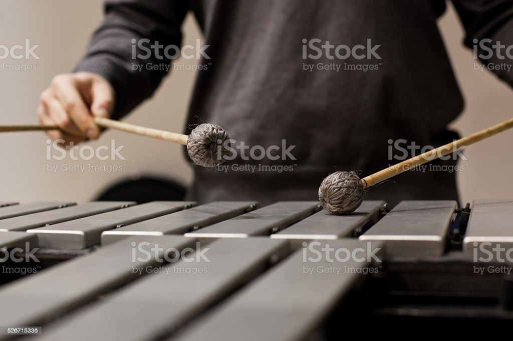 Drumsticks hits the vibraphone stock photo