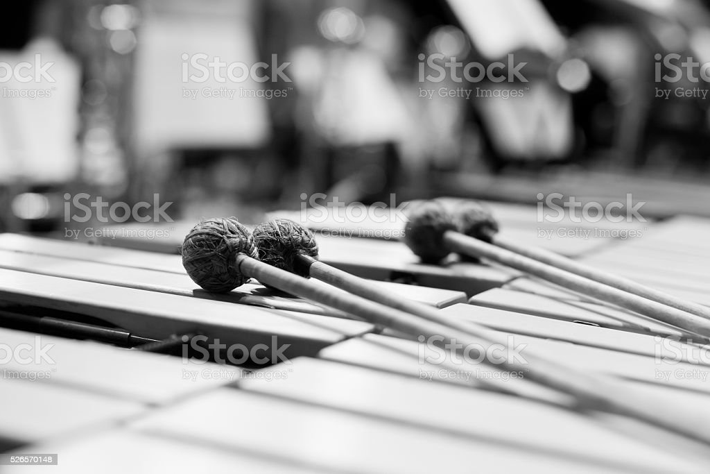 Drumsticks lying on the vibraphone stock photo