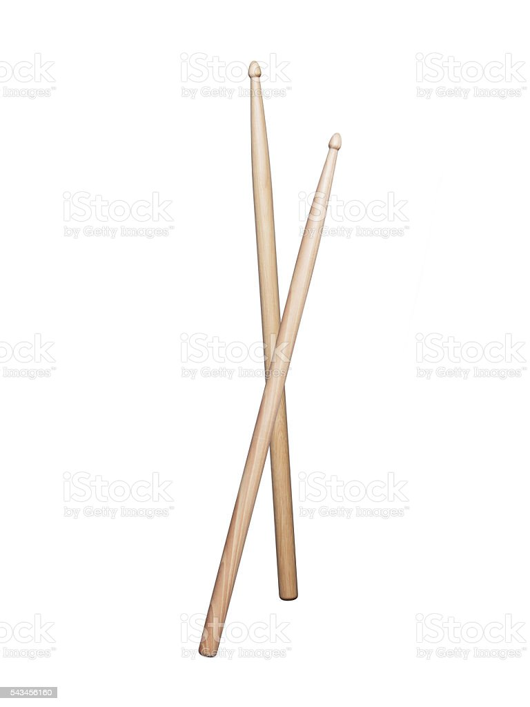 Drumsticks on white background stock photo