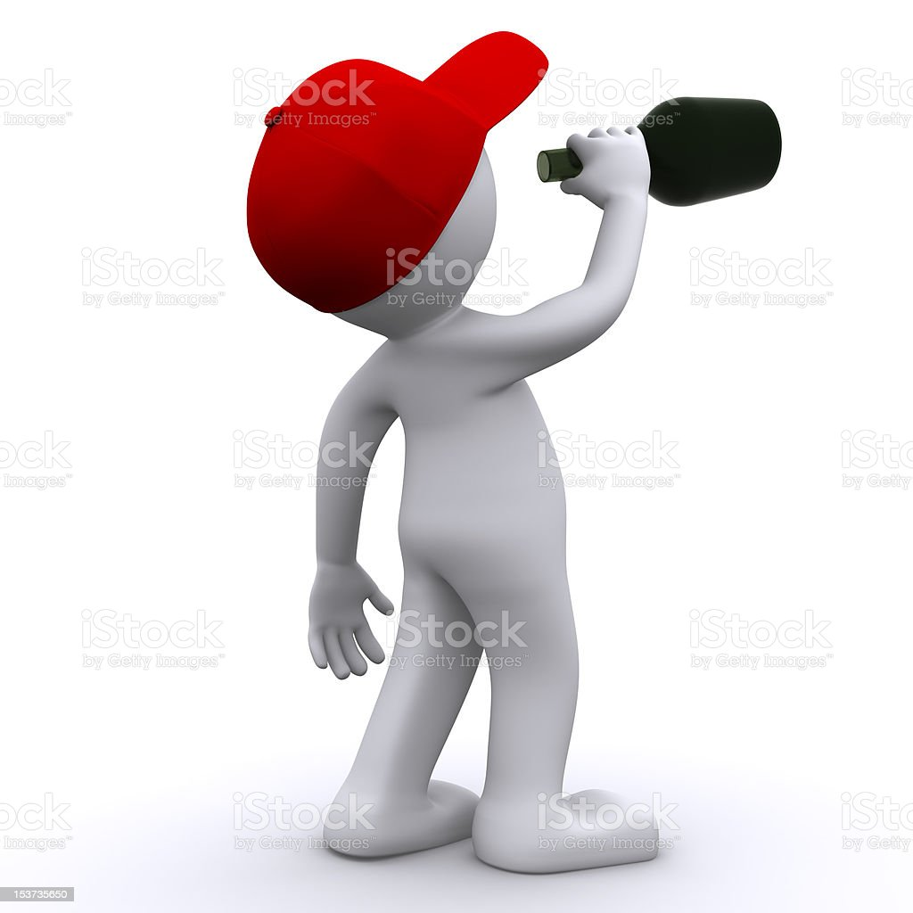 Drunk 3d character  with green bottle stock photo