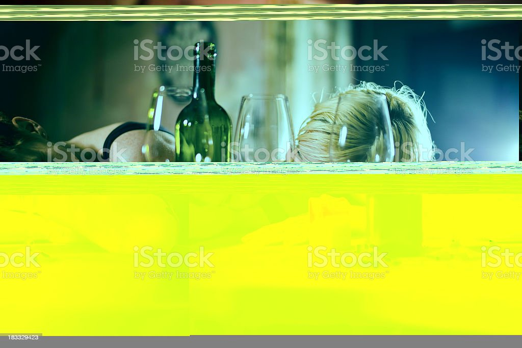 Drunk best friends on a Friday night stock photo