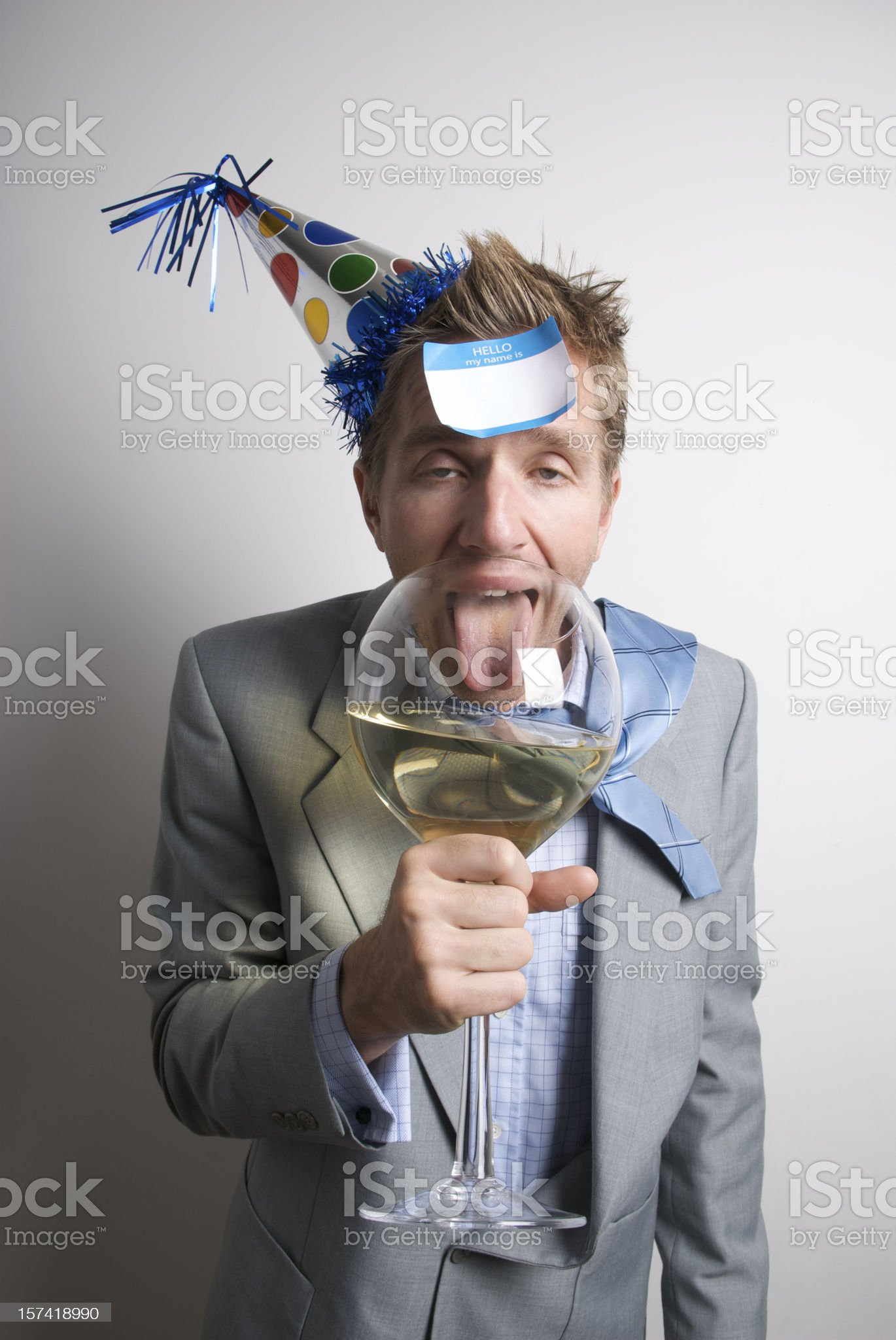 Drunk Businessman Office Worker Drinking with Name Tag royalty-free stock photo