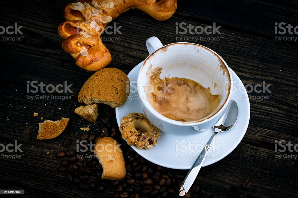 drunk cappuccino stock photo