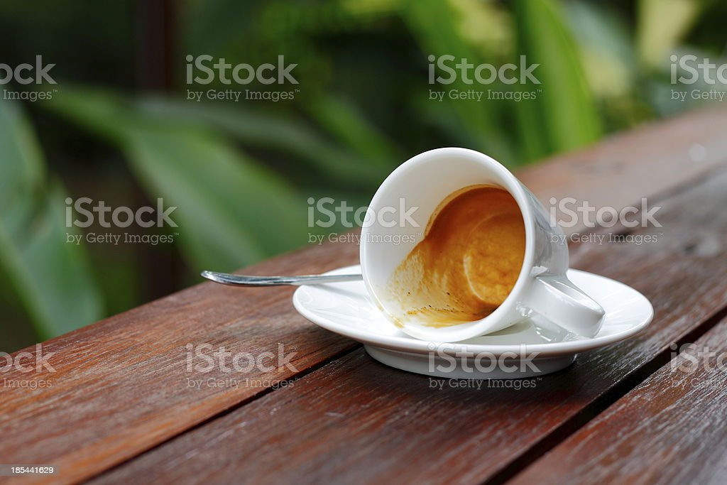 Drunk coffee cup on the wooden table. royalty-free stock photo