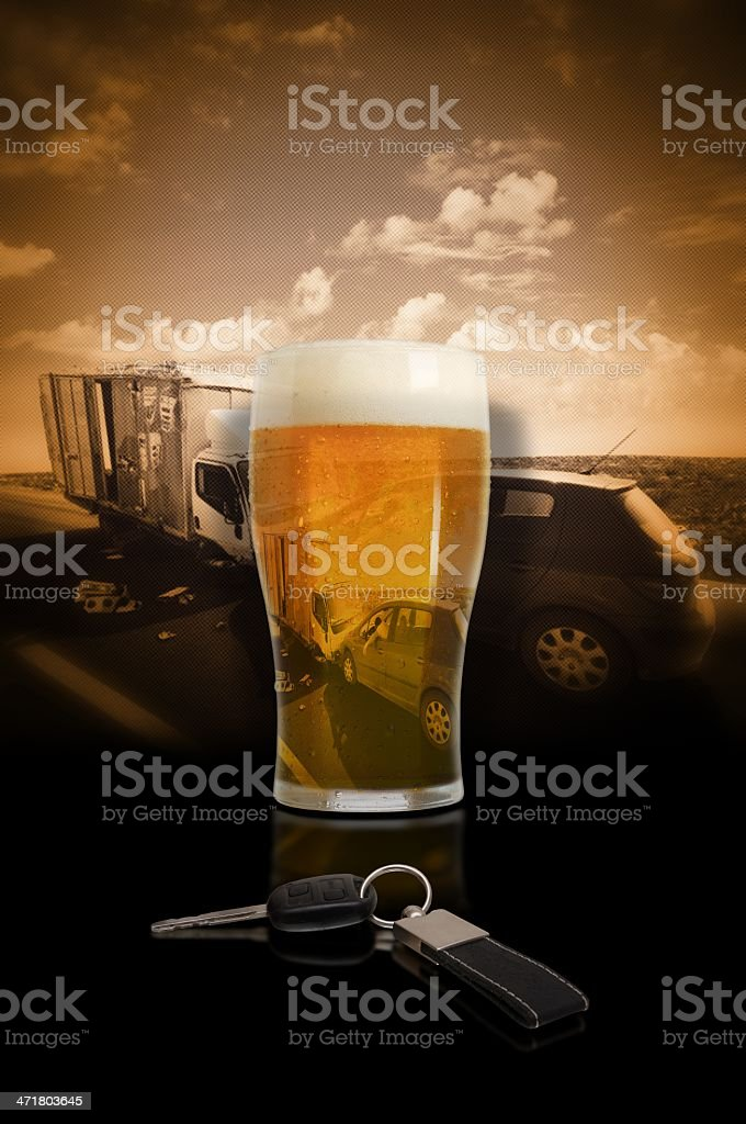 Drunk drivers wreck stock photo