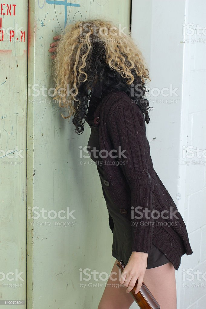Drunk girl & elevator door 4 royalty-free stock photo