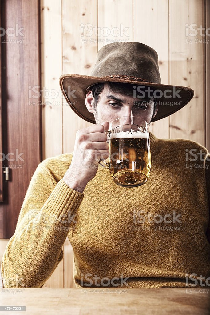 Drunk Man Drinking Beer royalty-free stock photo