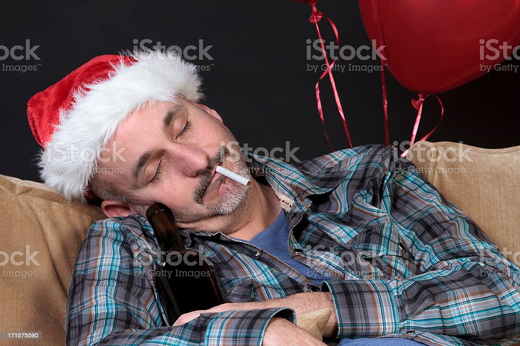 Drunk Man Sleeping After Holiday Party royalty-free stock photo