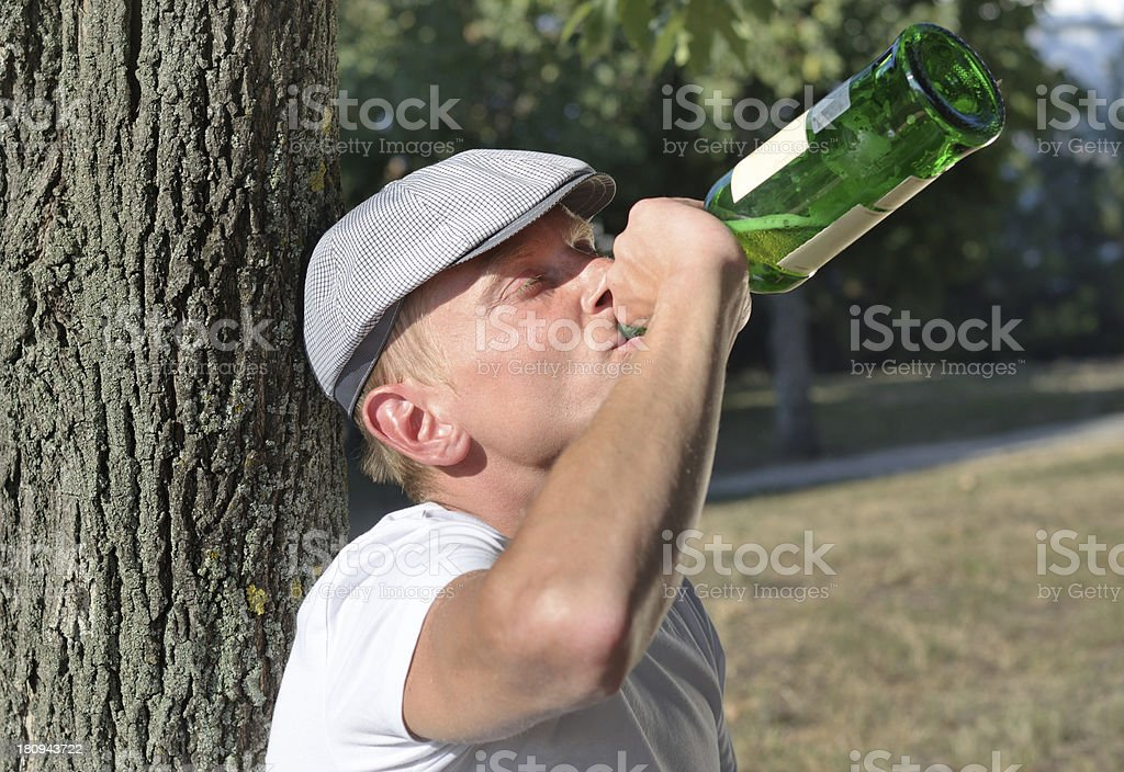 Drunk man with an alcohol problem stock photo