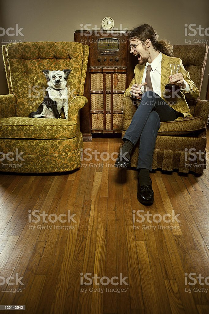 Drunk Man with Annoyed Dog royalty-free stock photo
