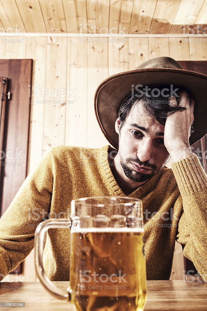 Drunk Man With Glass Of Beer royalty-free stock photo