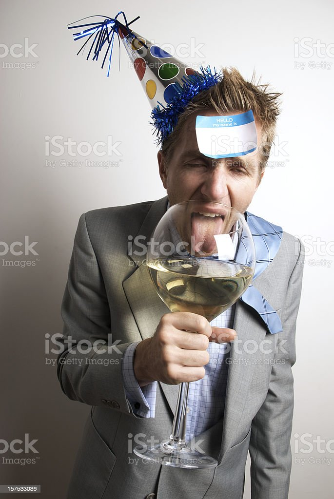 Drunk Office Worker Businessman Drinks at the Party royalty-free stock photo