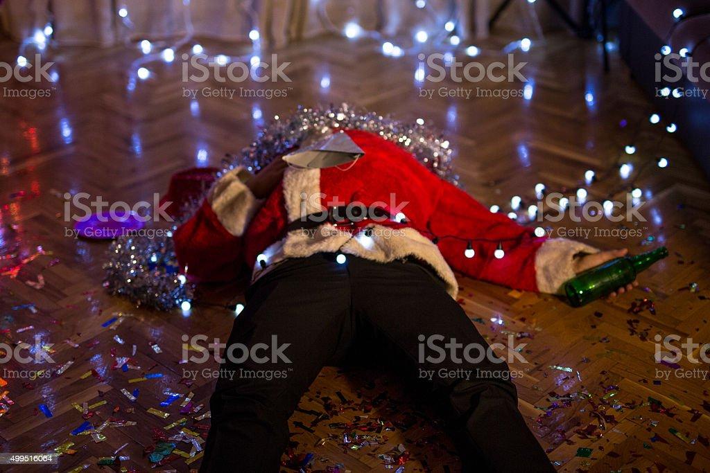 Drunk Santa Claus stock photo