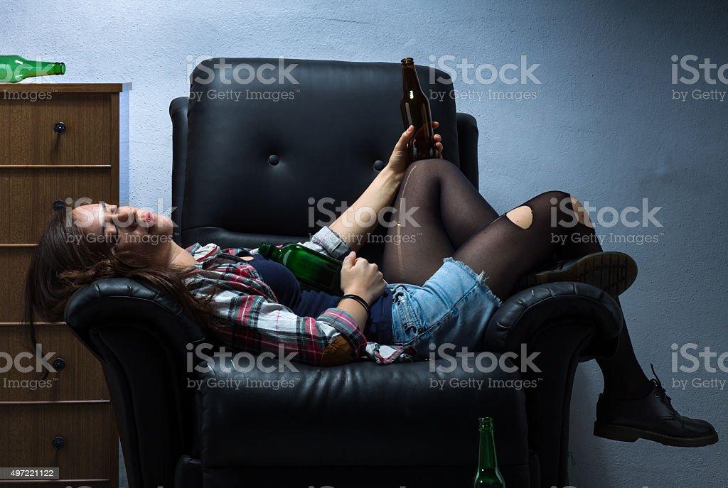 Drunk Woman stock photo