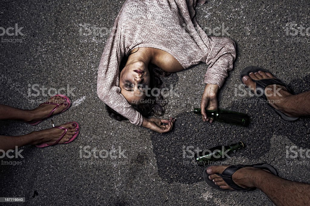 Drunk young woman stock photo
