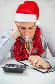 Drunken businessman after office christmas party. Businessman celebrate Merry Christmas
