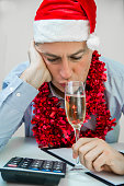 Drunken businessman after office christmas party.