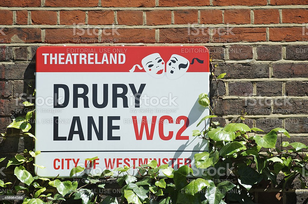 Drury Lane Theatreland Sign London Westminster stock photo