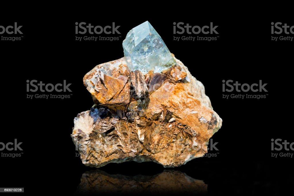 Drusa blue topaz, lenidolite, muscovite, microcline stock photo