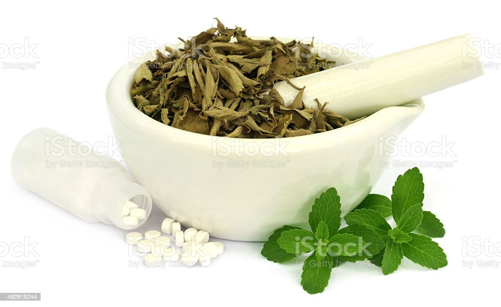 Dry and fresh Stevia leaves with pills stock photo