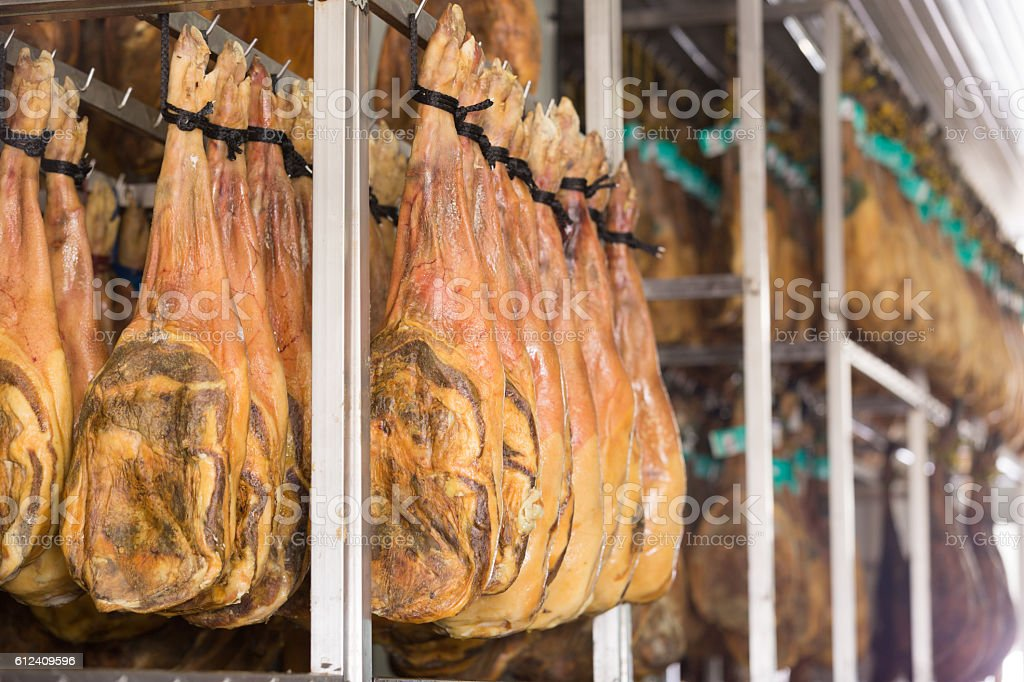 Dry and salty joints of jamon stock photo
