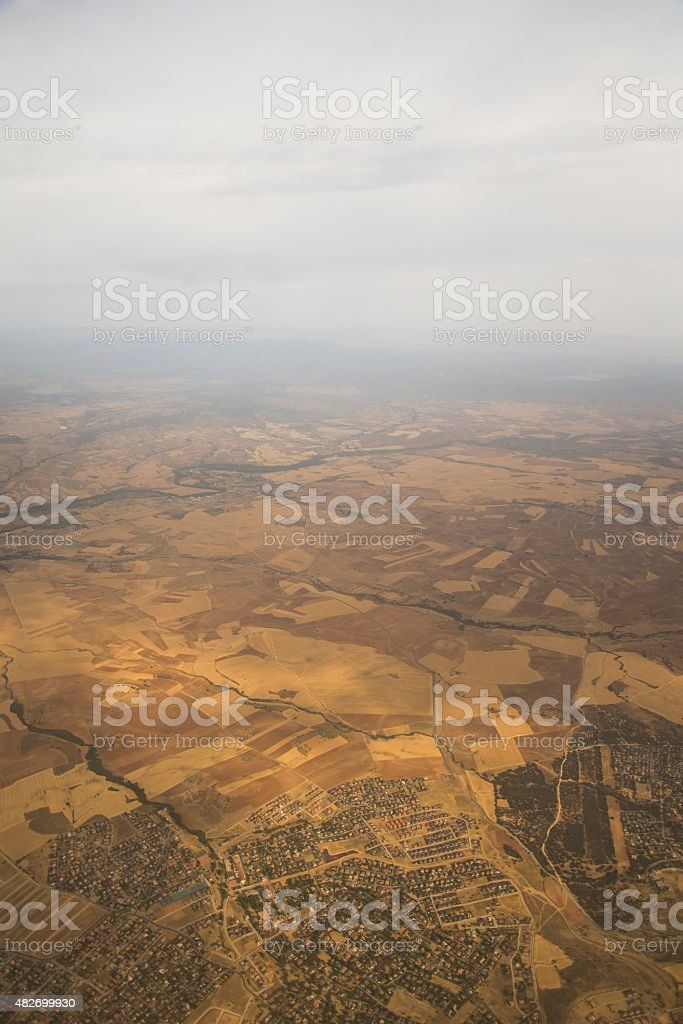 Dry area - Aerial view stock photo
